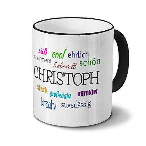 Tasse mit Namen Christoph - Positive Eigenschaften von Christoph - Namenstasse, Kaffeebecher, Mug, Becher, Kaffeetasse - Farbe Schwarz