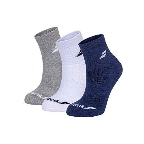 Babolat Quarter 3 Pairs Pack Calcetines, Unisex Adulto, White/Estate Blue/Grey, 43/46