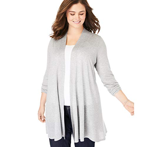 Woman Within Women's Plus Size Lightweight Open Front Cardigan Sweater - 5X, Heather Grey
