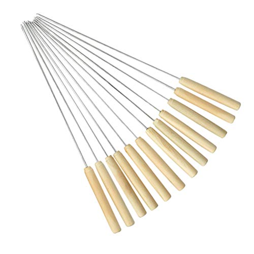 bestonzon 12Grill Spieß Edelstahl Grillen BBQ Stick Spieß Kabob Spieße mit Holz Griff