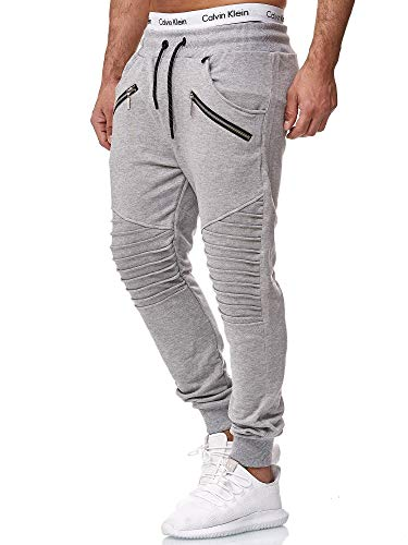 OneRedox Herren Jogging Hose Jogger Streetwear Sporthose Modell 1315 Grau L