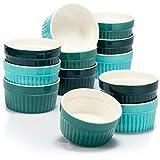 COM-FOUR® 12x moldes para soufflé - cuencos de cerámica creme brulee - moldes a prueba de horno - moldes para tazones de postre y pastelería, por ejemplo, aleta de ragú - en diferentes tonos de verde