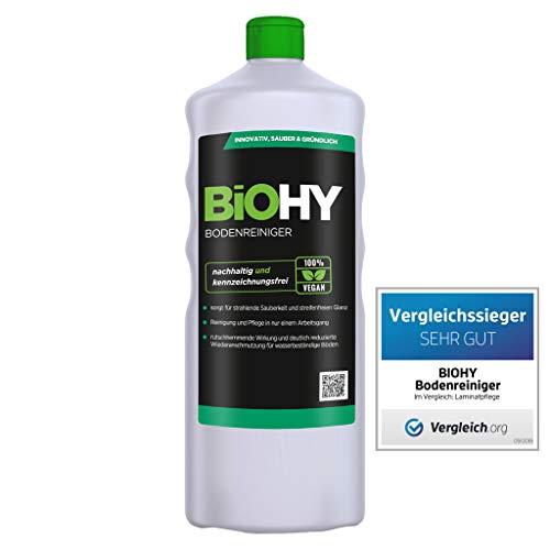 BiOHY Bodenreiniger (1l Flasche) | Konzentrat für alle Reinigungsgeräte und alle Hartböden | Angenehmer Geruch und streifenfreie Reinig
