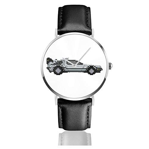 Unisex Business Casual Delorean Pixel Auto Back to The Future Uhren Quarz Leder Uhr mit schwarzem Lederband für Männer Frauen Junge Kollektion Geschenk