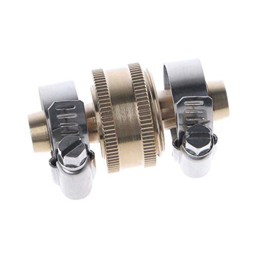 Abcidubxc - Conector de manguera de latón (con abrazadera de acero inoxidable)