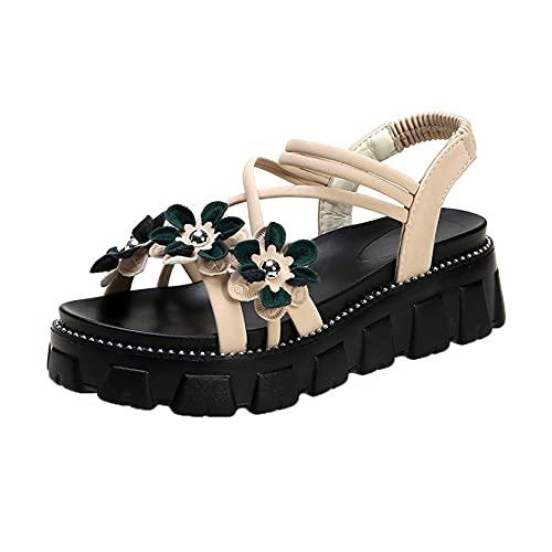 Sandalias para mujer, plataforma elástica para el tobillo, casual, comodidad al aire libre, zapatos planos con flor, color, talla 35.5 EU