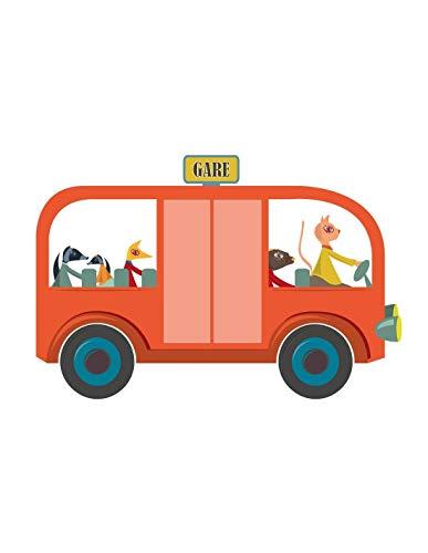 Sticker enfant: Bus rouge - Format : 100 x 67 cm