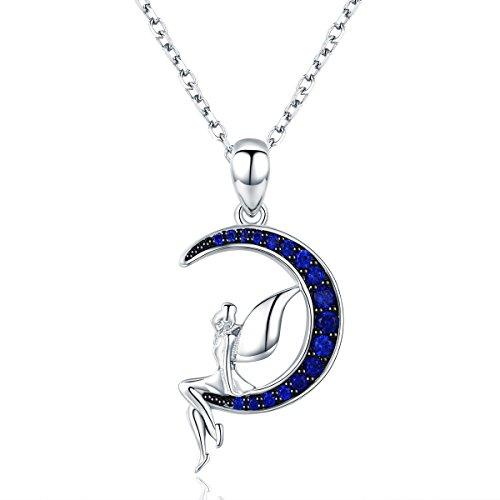 Colgante de plata de ley 925 con diseño de hada de la suerte en la luna azul, regalo para mujer
