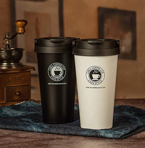 CM Gobelet à café à emporter avec couvercle anti-fuites, réutilisable, infusions café écologique de voyage sans BPA, verres à café, tasse de voyage écologique pour boissons de 500 ml Blanc