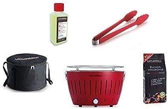 LotusGrill - Barbacoa con conexión USB, 1 carbón de haya de 1 kg, 1 pasta de combustión de 200 ml, 1 pinzas de salchicha rojo fuego y 1 bolsa de transporte - la barbacoa de carbón vegetal sin humo, rojo fuego