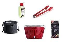 LotusGrill Starter-Set 1x Grill Feuerrot mit USB-Anschluß, 1x Buchenholzkohle 1kg, 1x Brennpaste 200ml, 1x Würstchenzange (Farbe nach Vorrat), 1x Transport-Tragetasche - der raucharme Holzkohlegrill