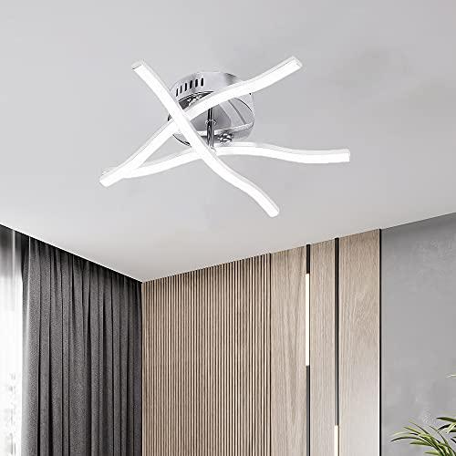AUA Plafón LED, lámpara de techo moderna diseño curvo elegante, luz blanca fría, 18 W, 6500 K, para salón y dormitorio, IP20, 37 cm