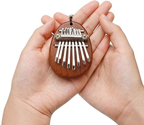 Mini 8 Key Kalimba Finger Thumb Piano Portable, with Lanyard Keyboard Musical Instrument for Beginners, Kids, Adult good accessory Pendant Valentines Gift