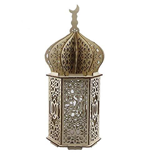 Bois Lampe LED Fête Musulmane du Ramadan Eid Lumière Bois Palais Décorations LED Moubarak Ramadan Faro