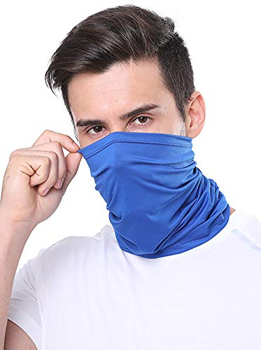 12 in 1 Multifunctional Headwear Face Mask Headband Neck Gaiter Bandanas Face Scarf for Dust, Outdoors, Festivals, Sports Solid Blue