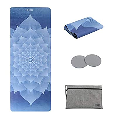 "wwww pido Rubber Yoga Mat Non Slip Gym Mat with Canvas Bag,72""x26"" Thichness 1.5mm Ultra-Thin mat for Yoga Pilates Fitness Exercise(Snow Lotus)"