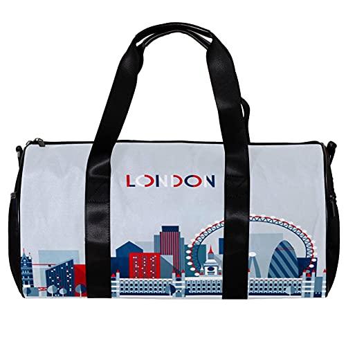 Bolsa de viaje para mujer y hombre, estilo vintage de Londres, Reino Unido, bandera británica, autobús, deportes, gimnasio, bolsa de viaje para fin de semana, bolsa de viaje al aire libre