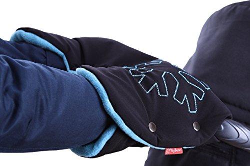 ByBoom - Softshell Handwärmer Thermo Aktiv; Funktions-Handmuff mit Fleece Innenseite, Universalgröße für Kinderwagen, Buggy, Jogger, Radanhänger, Farbe:Schwarz/Schwarz