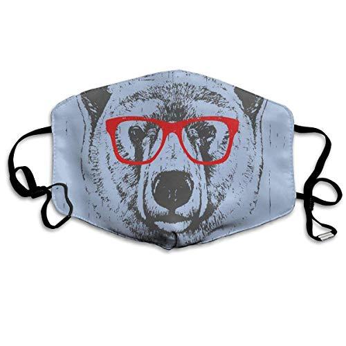 Bequeme Winddichte Maske, skurriles Grunge-Porträt eines Eisbären mit Brille für Erwachsene
