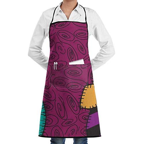 Delantal ajustable unisex Corbatas extra largas con bolsillos Chef - Pesadilla antes de Navidad Patrón Sally Cooking BBQ Kitchen Bib