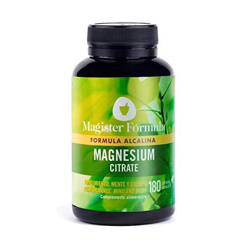 Citrato de Magnesio 2400mg | Efecto Alcalino | Alta Dosis de Magnesio Elemental Puro | 375mg de Biodisponibilidad | Suplemento 180 Cápsulas | Más Oxígeno y Energía | Reduce Cansancio y Mejora el Sueño