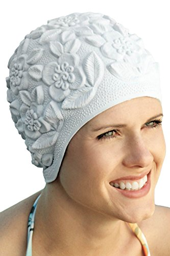 Retro Bathing Caps for Women: Floral Molded Swim Cap White