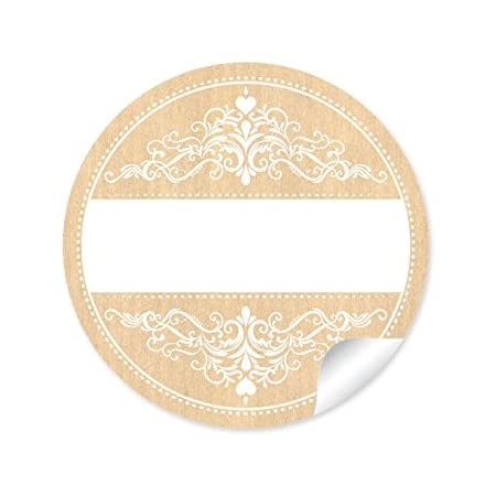 Tischdeko 24 STICKER: Universale Etiketten imRetro-Vintage-Style//Shabby-Chic mit Ornamenten mit Freitextfeld f/ür Namen /• F/ür Gastgeschenke rund Selbstgemachtes /• 4 cm matt in BLAU