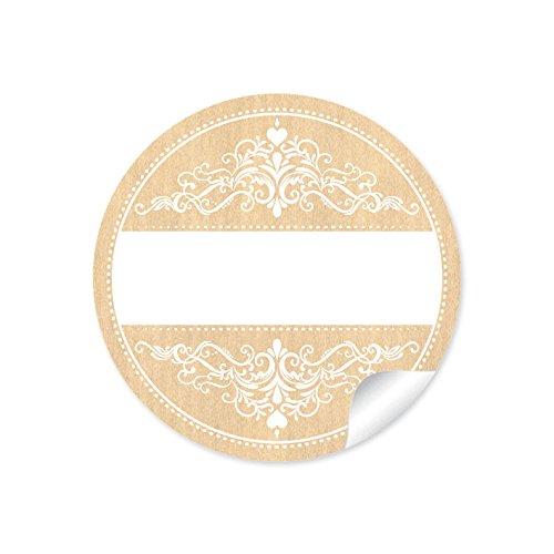 24 STICKER Universale Etiketten im Retro-Vintage-Style/Shabby-Chic mit Ornamenten mit Freitextfeld für Namen für Gastgeschenke, Tischdeko, Selbstgemachtes 4 cm, rund, matt in NATUR