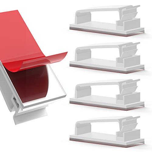 JIRVY 50 Stück Kabelclips Selbstklebende Kabelführungsclips Kabelorganisatoren Kabelklemmen Kabelhalter für TV-PC Laptop Ethernet-Kabel Desktop Home Office (Weiß)