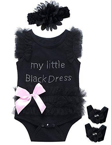 Little Fancy 3 Pieces Baby Girls' Lace Tutu Dress Bodysuit with Headband (0-3 Months) Black