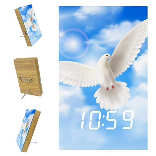 Indimization Reloj Despertador Digital Nubes de Cielo de Paloma Blanca LED Pantalla Reloj Alarma Inteligente Puerto de Carga USB Función Snooze Alarma 6.2x3.8x0.9 in