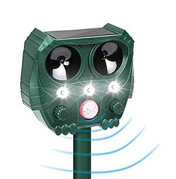 LTOOTA Répulsif pour Animaux Chat Exterieur, Ultrason Souris et Rat Solaire, USB Rechargeable Répulsif Étanche avec 5 Fréquence Réglables pour Chien Chat Pigeons Écureuil Loir Oiseaux