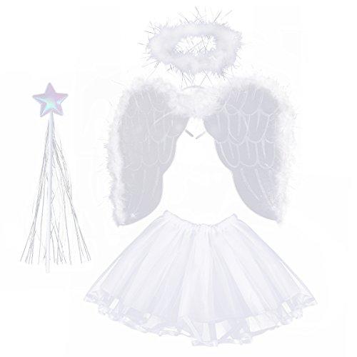 LUOEM Disfraz de Angel Niña 3-8 Años Alas de Angel Varita Mágica Diadema Halo de Angel y Falda de Tutú Blanco 4 Unidades