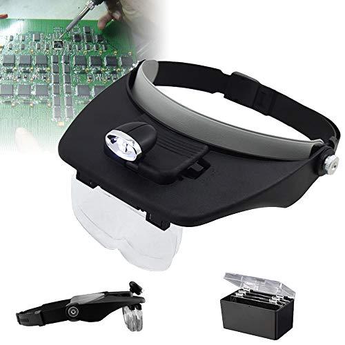 Hengda Lupenbrille mit Licht Lupe stirnlupe Stirnlupe Kopflupe mit licht für brillenträger uhrmacherlupe