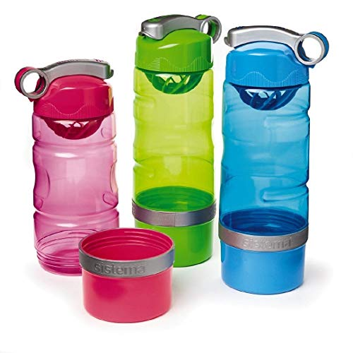 Sistema Sport Fusion Collection Drink Bottle with Detachable Powder Container, 20.8 Ounce, 3 Pack (Blue, Pink, Neon Green)