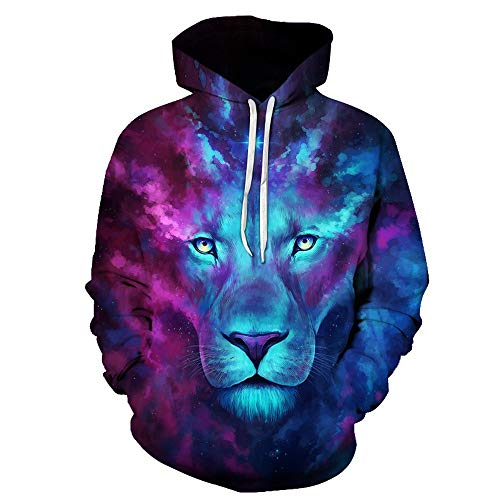HUIYIYANG Tees Unisex Ice Fire Wolf, White Lion Funny Hoodies 3D Long Sleeve Hooded Casual Sweatshirts Pullover Tops for Herren Damen 040 L