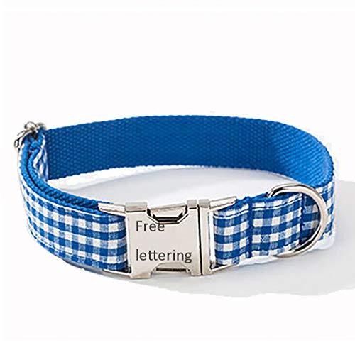 ID-halsband voor honden, medaille met naam en telefoonnummer, XS, Blauw