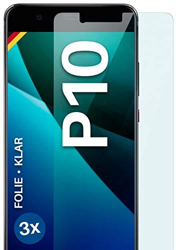Moex Pellicola protettiva trasparente compatibile con Huawei P10 – Pellicola protettiva per display HD, sottile, antigraffio, 3 pezzi