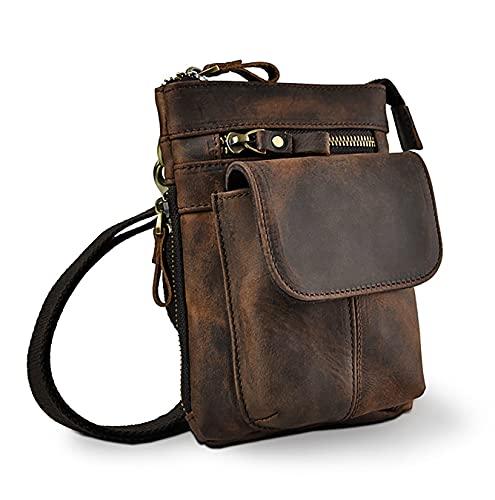 LEUCHTBOX Echtleder Outdoor Gürteltasche Hüfttasche Umhängetasche Handytasche Crossbody Bag für Damen und Herren Unisex - Echtes Rindsleder (Braun)