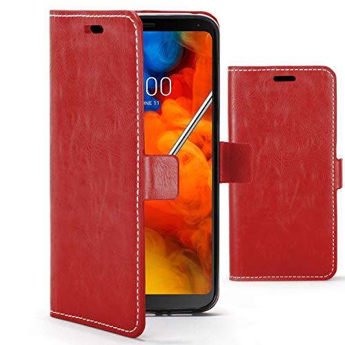 Forefront Hülles Premium Flip Hülle Handyhülle für LG Q Stylus - Handgefertigt und Handgenäht - Multifunktionales Geldbörse und Ständer Design - Doppelter Schutz vor Stößen und Fallenlassen - Rot