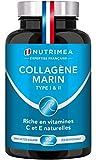 COLLAGÈNE MARIN - Type 1 & 2 BREVETÉ Pur et Naturel - Vitamines C et E Végétales - Nutrimea - Hydratation de la Peau - Protège Os et Articulations - 900mg - 90 gélules vegan - Fabriqué en France