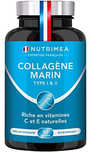 COLLAGÈNE MARIN Type 1 & 2 BREVETÉ Pur et Naturel + Vitamines C et E Végétales - Hydratation de la Peau - Protège les Os et les Articulations - 900mg - 90 gélules vegan - Nutrimea - Fabriqué en France