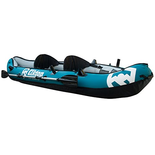 Elkton Outdoors 10' Foot Inflatable Tear Resistant Fishing Kayak with Double Sided Oars, Rod Holders, Foot Pump