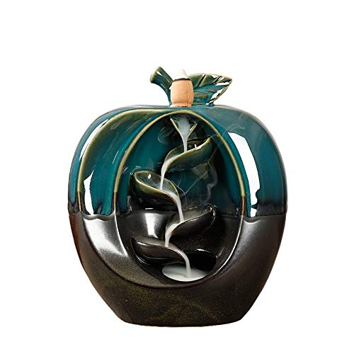 ShuangChuang Apple Backflow Incense Burner Incenser Holder Retro Style Waterfall Porcelain Vase Home Decor Aromatherapy Ornament with 10 Cones Incense