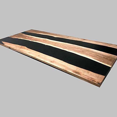 Mesa de comedor de madera y resina epoxi no tóxica de diseño único