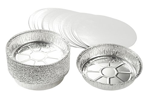 9-Inch Aluminum Foil Pans with Lids - 25-Piece Round Disposable Pie Pans Tin Plates for Baking Pie, Tart, Quiche - 9 x 1.6 x 9 Inches