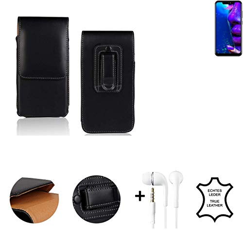 K-S-Trade® Leder Gürtel Tasche + Kopfhörer Für Allview Soul X5 Pro Seitentasche Belt Pouch Holster Handy-Hülle Gürteltasche Schutz-Hülle Etui Schwarz 1x