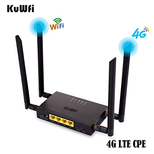 KuWFi 4G LTE Car WiFi Wireless Internet Router 300Mbps Cat 4 High Speed Industry CPE with SIM Card Slot and 4pcs External Antennas for USA/CA/Mexico