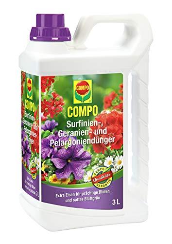Compo Surfinien-, Geranien- und Pelargoniendünger, Spezial-Flüssigdünger mit extra Eisen, 3 Liter