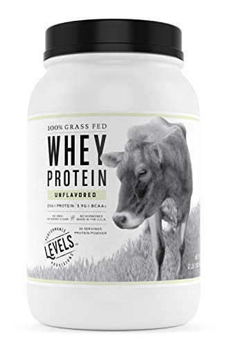Levels 100% Grass Fed Whey Protein, No GMOs, Unflavored, 2LB